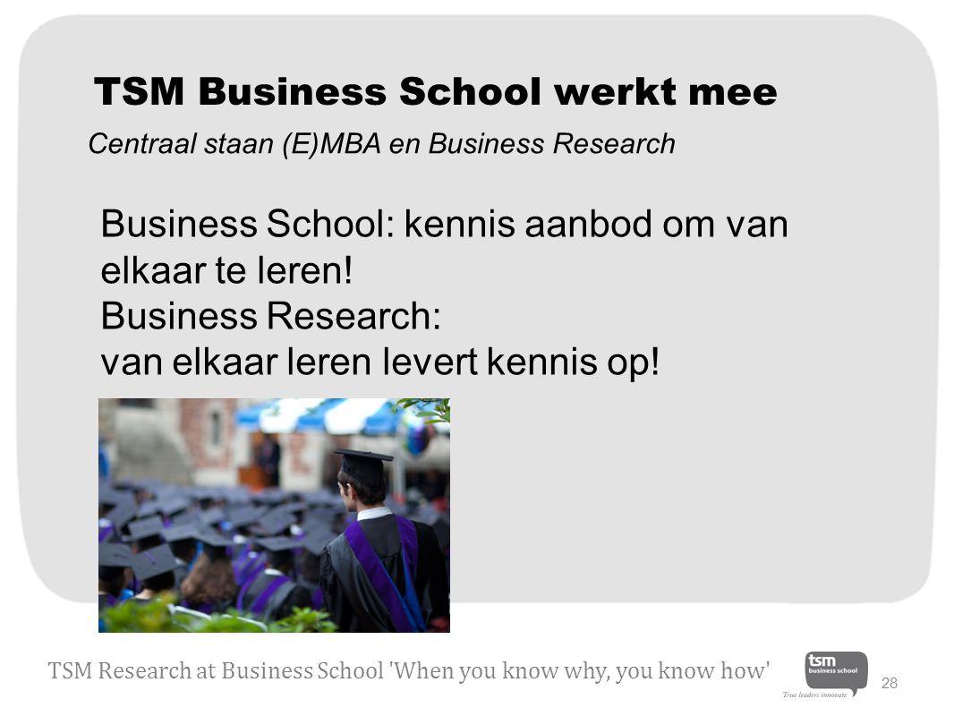 TSM Business School werkt mee Business School: kennis aanbod om van elkaar te leren.