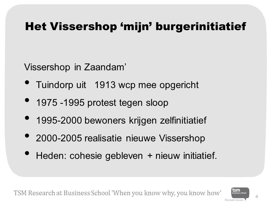 Het Vissershop 'mijn' burgerinitiatief Vissershop in Zaandam' Tuindorp uit 1913 wcp mee opgericht 1975 -1995 protest tegen sloop 1995-2000 bewoners krijgen zelfinitiatief 2000-2005 realisatie nieuwe Vissershop Heden: cohesie gebleven + nieuw initiatief.