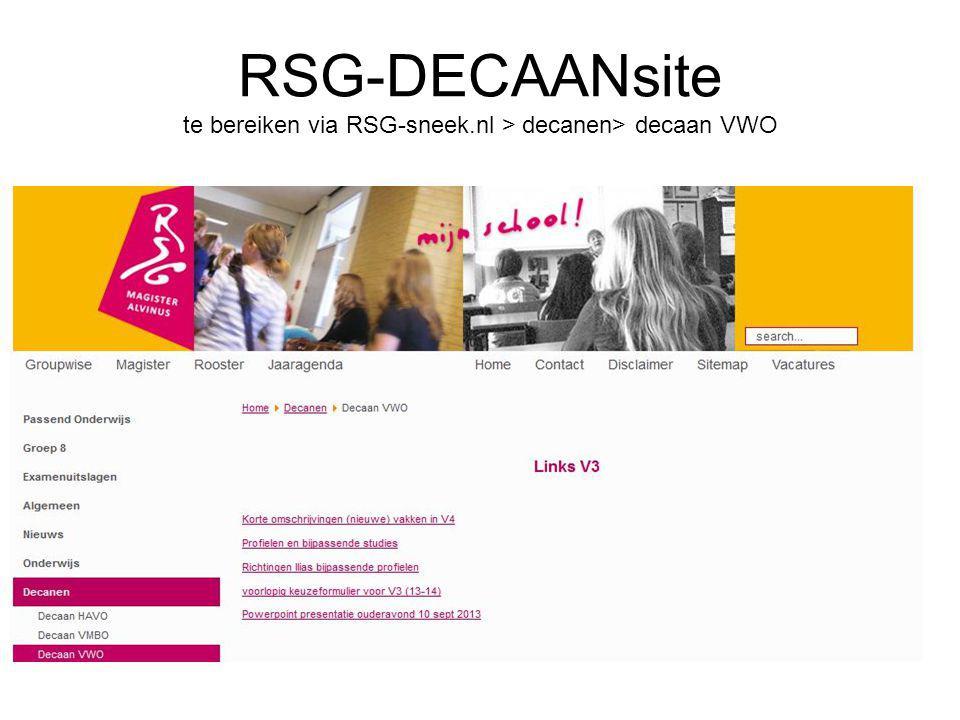 RSG-DECAANsite te bereiken via RSG-sneek.nl > decanen> decaan VWO