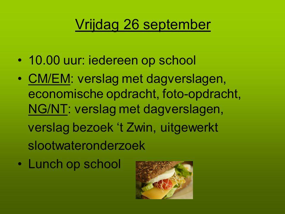 Vrijdag 26 september 10.00 uur: iedereen op school CM/EM: verslag met dagverslagen, economische opdracht, foto-opdracht, NG/NT: verslag met dagverslag