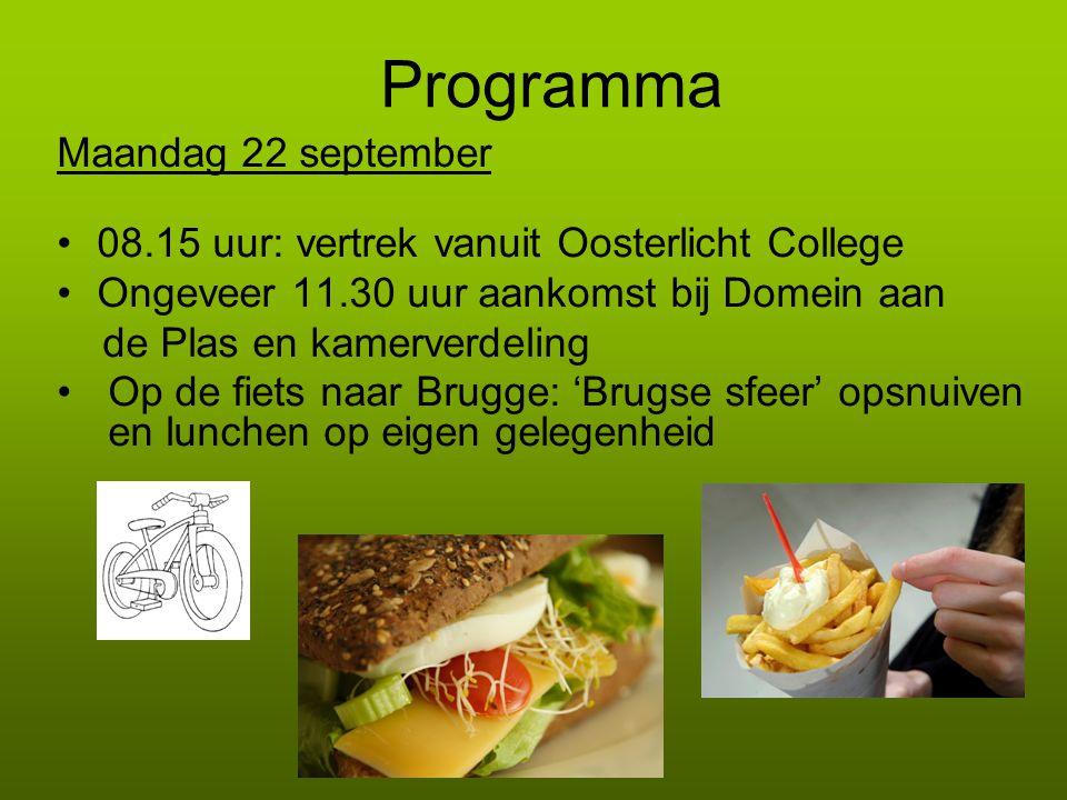 Programma Maandag 22 september 08.15 uur: vertrek vanuit Oosterlicht College Ongeveer 11.30 uur aankomst bij Domein aan de Plas en kamerverdeling Op d
