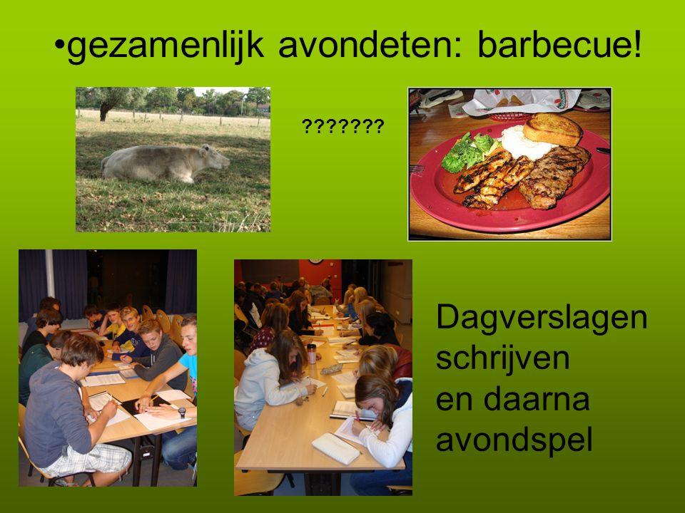 gezamenlijk avondeten: barbecue! ??????? Dagverslagen schrijven en daarna avondspel