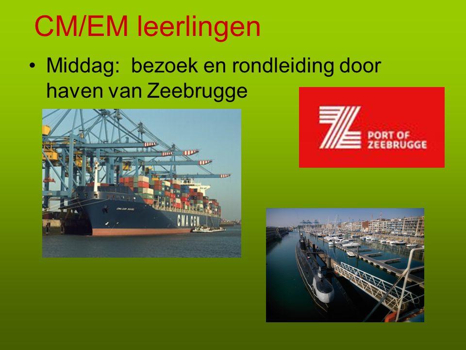 CM/EM leerlingen Middag: bezoek en rondleiding door haven van Zeebrugge