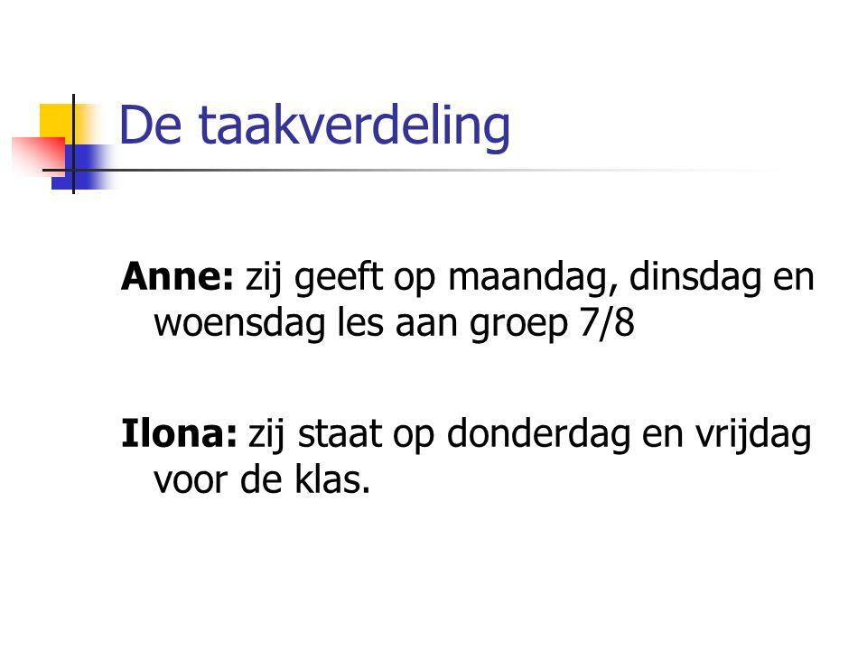 De taakverdeling Anne: zij geeft op maandag, dinsdag en woensdag les aan groep 7/8 Ilona: zij staat op donderdag en vrijdag voor de klas.