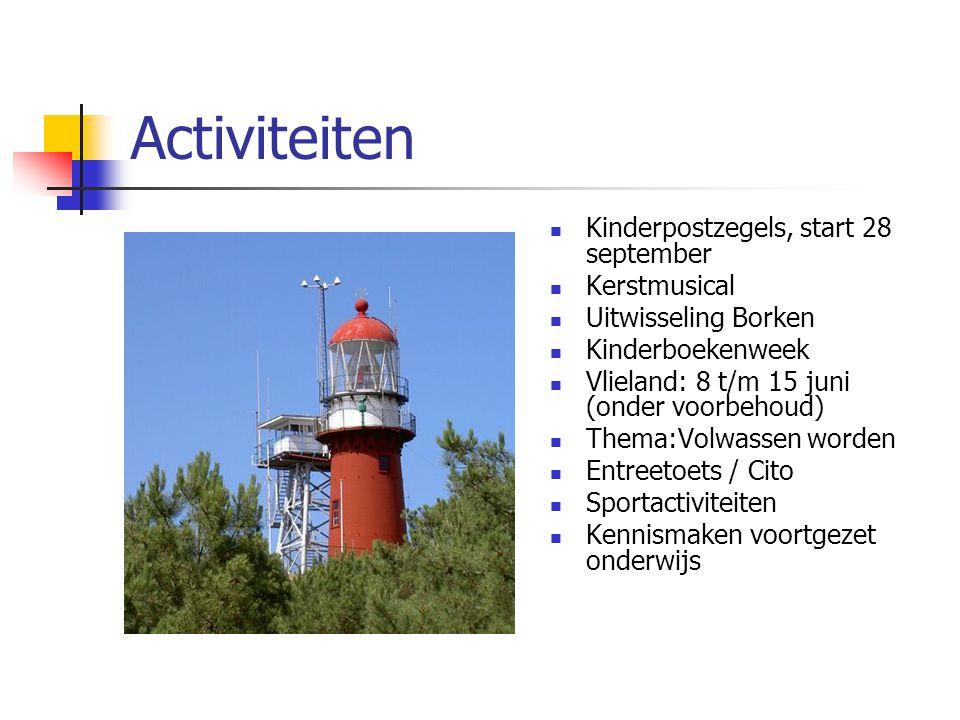 Activiteiten Kinderpostzegels, start 28 september Kerstmusical Uitwisseling Borken Kinderboekenweek Vlieland: 8 t/m 15 juni (onder voorbehoud) Thema:V