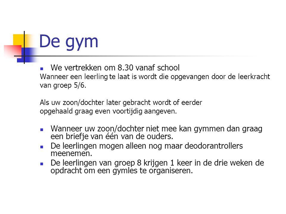 De gym We vertrekken om 8.30 vanaf school Wanneer een leerling te laat is wordt die opgevangen door de leerkracht van groep 5/6. Als uw zoon/dochter l