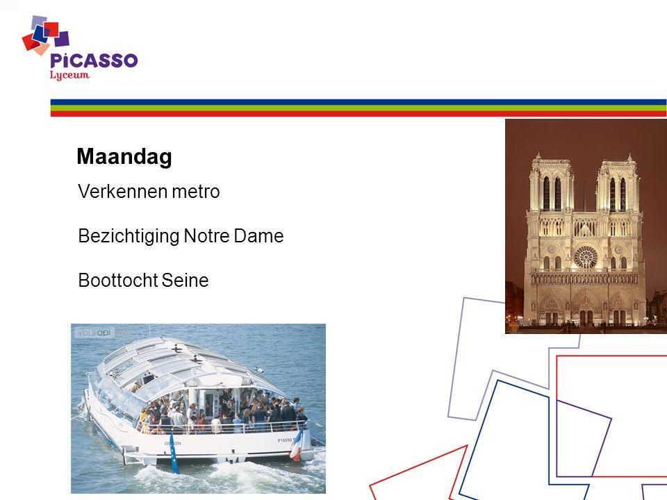 Maandag Verkennen metro Bezichtiging Notre Dame Boottocht Seine
