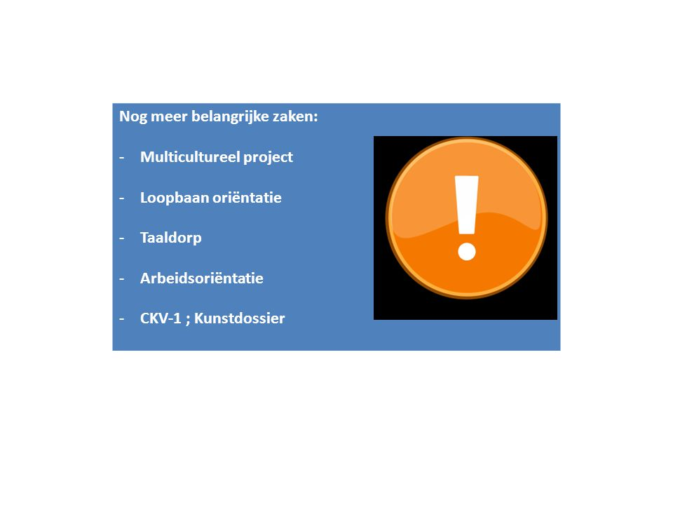 Nog meer belangrijke zaken: -Multicultureel project -Loopbaan oriëntatie -Taaldorp -Arbeidsoriëntatie -CKV-1 ; Kunstdossier