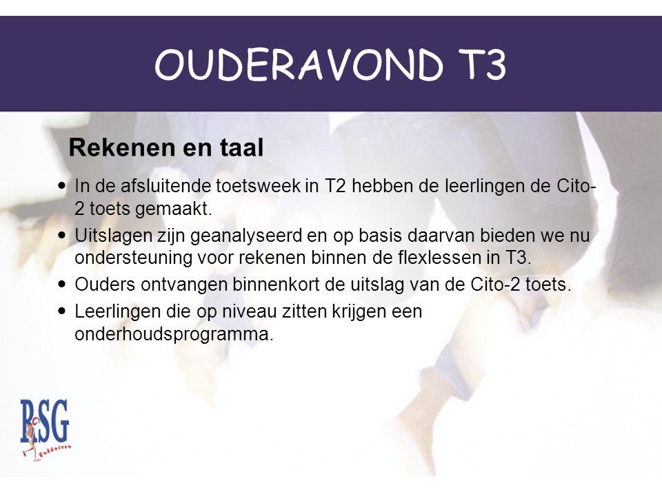 OUDERAVOND T3 In de afsluitende toetsweek in T2 hebben de leerlingen de Cito- 2 toets gemaakt.