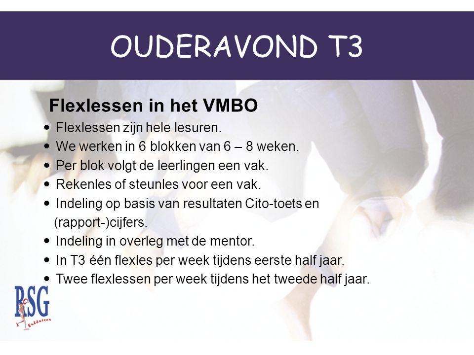 OUDERAVOND T3 Flexlessen zijn hele lesuren.We werken in 6 blokken van 6 – 8 weken.