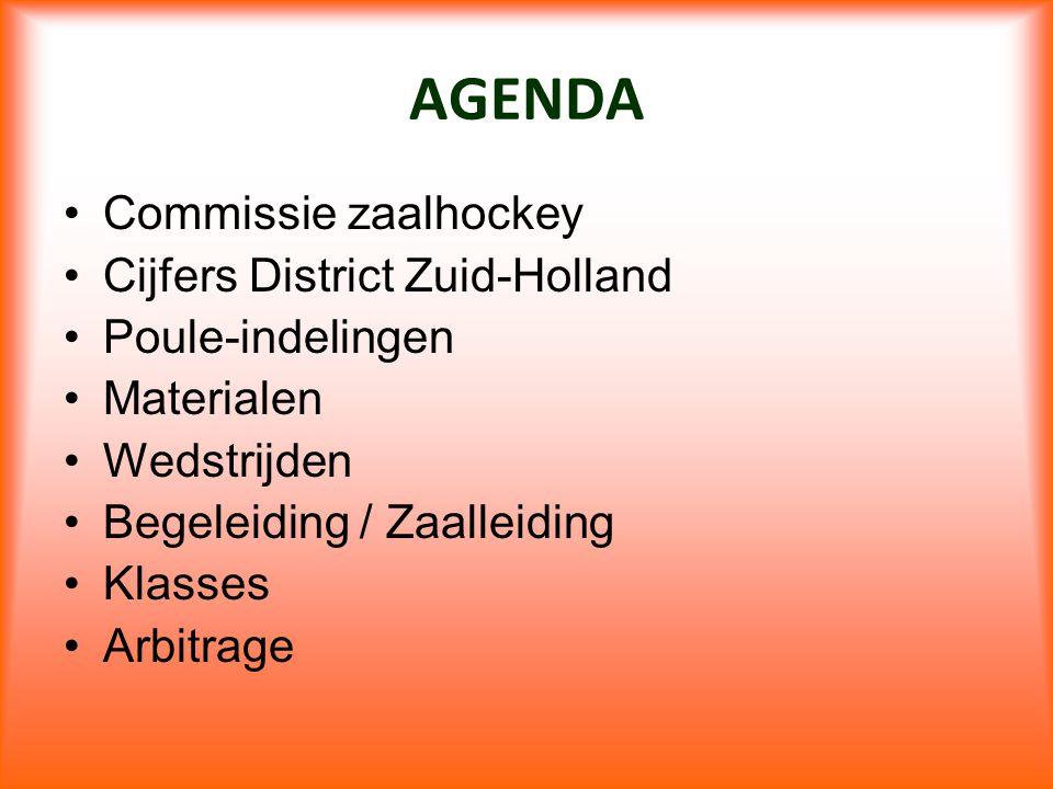 AGENDA Commissie zaalhockey Cijfers District Zuid-Holland Poule-indelingen Materialen Wedstrijden Begeleiding / Zaalleiding Klasses Arbitrage