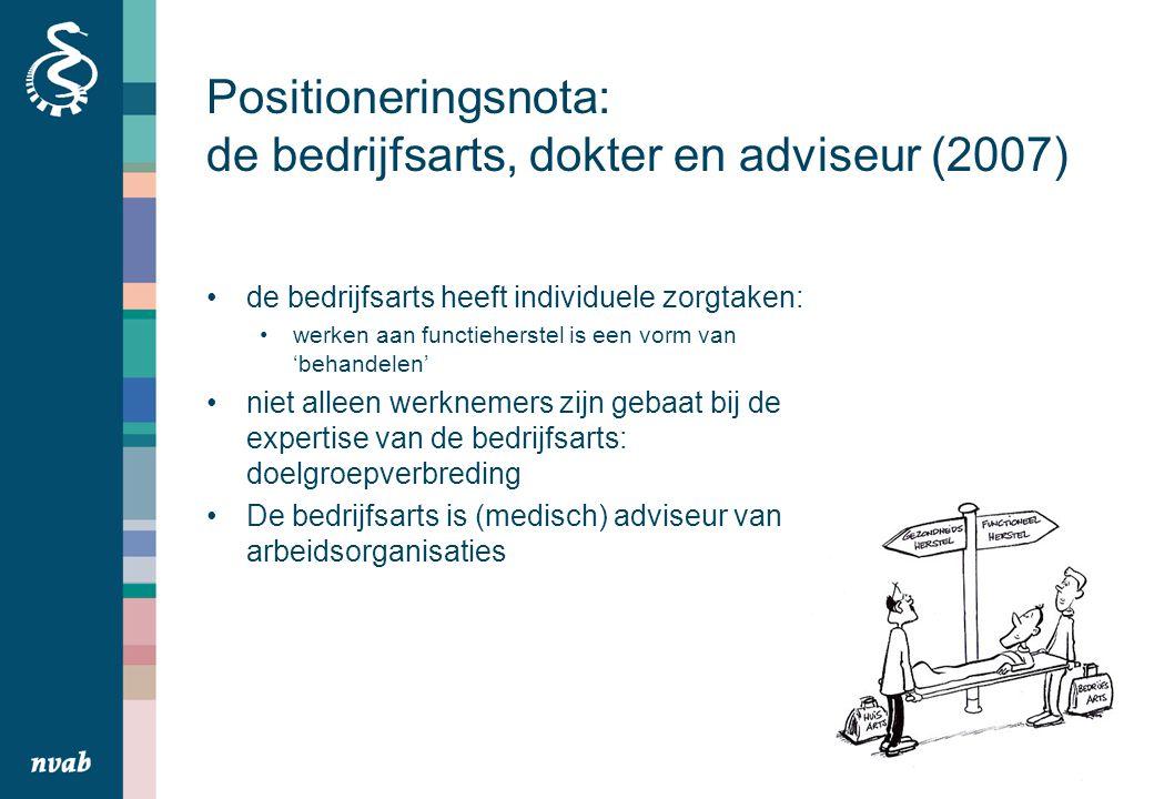 Positioneringsnota: de bedrijfsarts, dokter en adviseur (2007) de bedrijfsarts heeft individuele zorgtaken: werken aan functieherstel is een vorm van