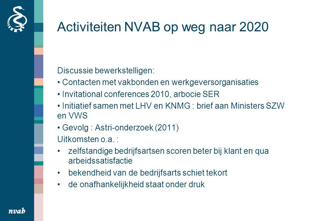 Activiteiten NVAB op weg naar 2020 Discussie bewerkstelligen: Contacten met vakbonden en werkgeversorganisaties Invitational conferences 2010, arbocie