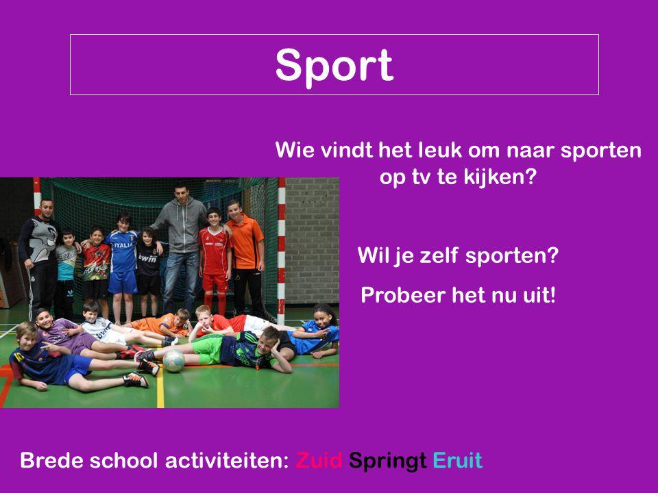Sport Wie vindt het leuk om naar sporten op tv te kijken.