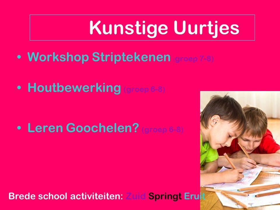 Workshop Striptekenen ( groep 7-8) Houtbewerking (groep 6-8) Leren Goochelen? (groep 6-8) Kunstige Uurtjes Brede school activiteiten: Zuid Springt Eru