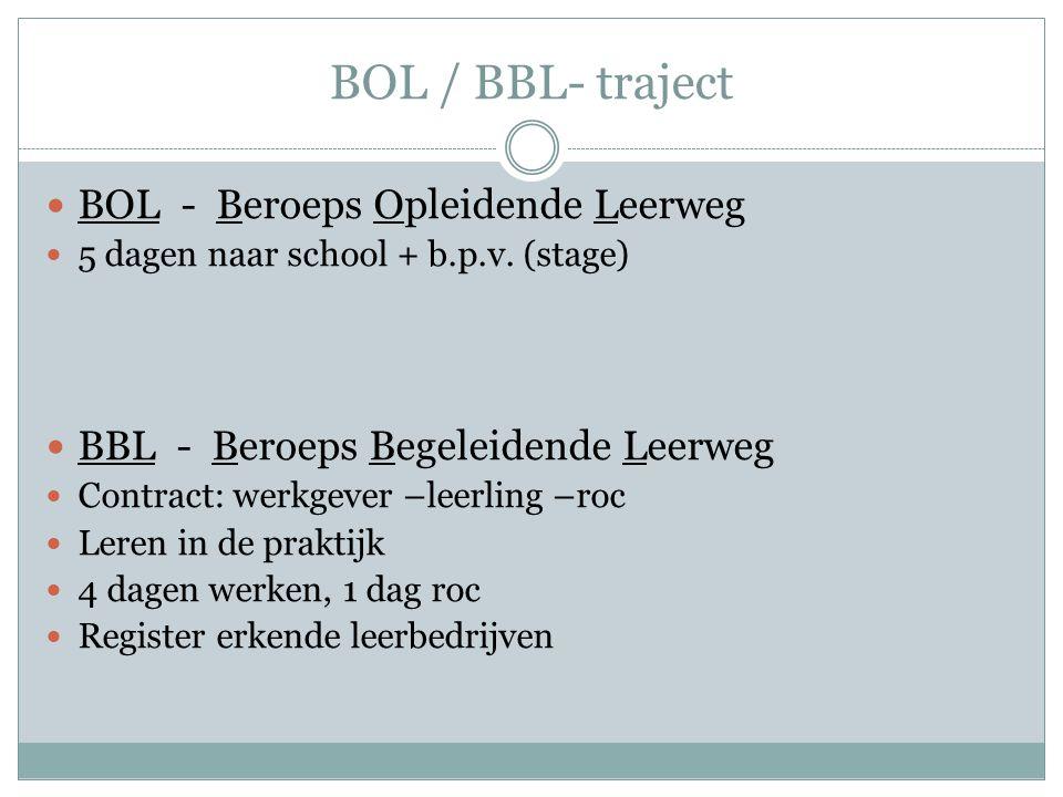 BOL / BBL- traject BOL - Beroeps Opleidende Leerweg 5 dagen naar school + b.p.v. (stage) BBL - Beroeps Begeleidende Leerweg Contract: werkgever –leerl