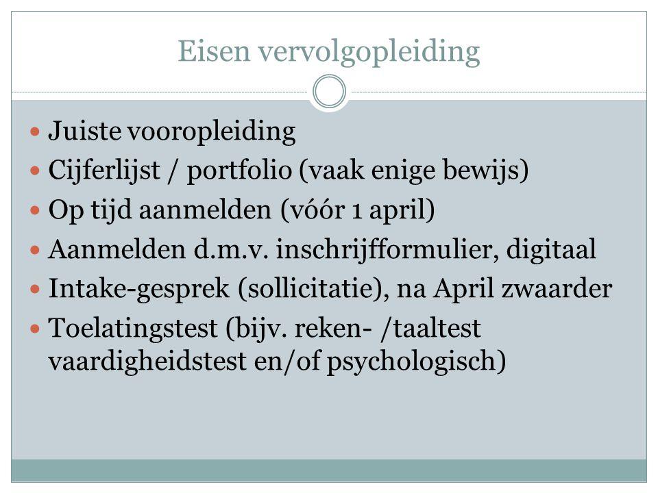 Eisen vervolgopleiding Juiste vooropleiding Cijferlijst / portfolio (vaak enige bewijs) Op tijd aanmelden (vóór 1 april) Aanmelden d.m.v. inschrijffor