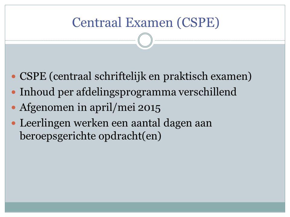 Centraal Examen (CSPE) CSPE (centraal schriftelijk en praktisch examen) Inhoud per afdelingsprogramma verschillend Afgenomen in april/mei 2015 Leerlin