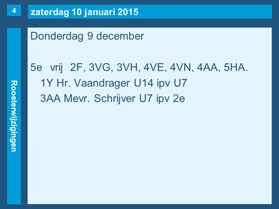 zaterdag 10 januari 2015 Roosterwijzigingen 15