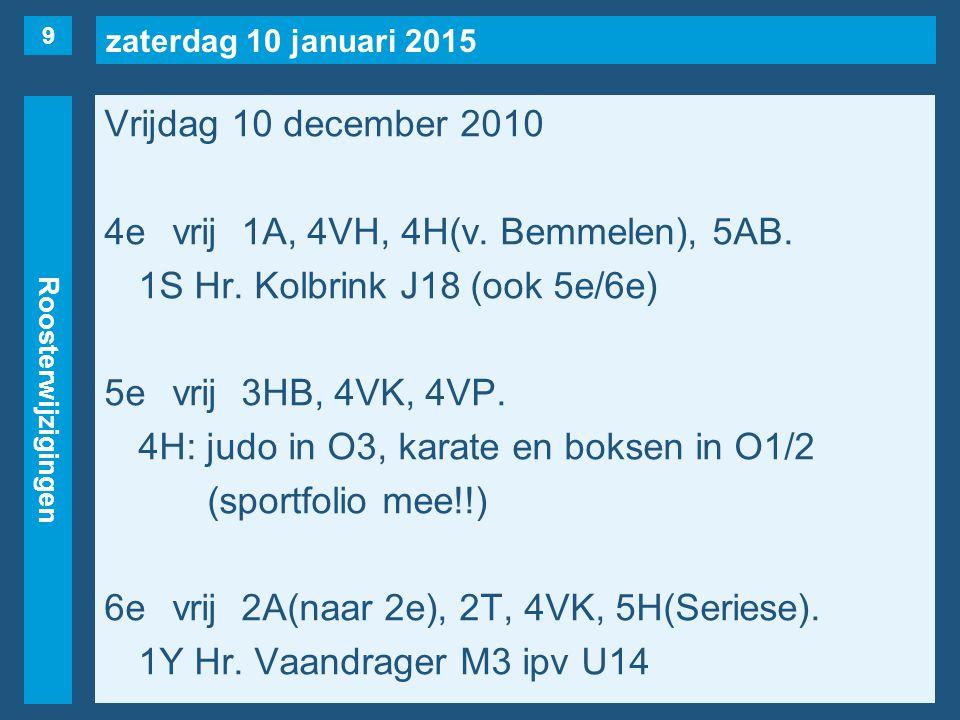 zaterdag 10 januari 2015 Roosterwijzigingen Vrijdag 10 december 7evrij1E(naar 1e), 3VG, 3VH, 3AA.