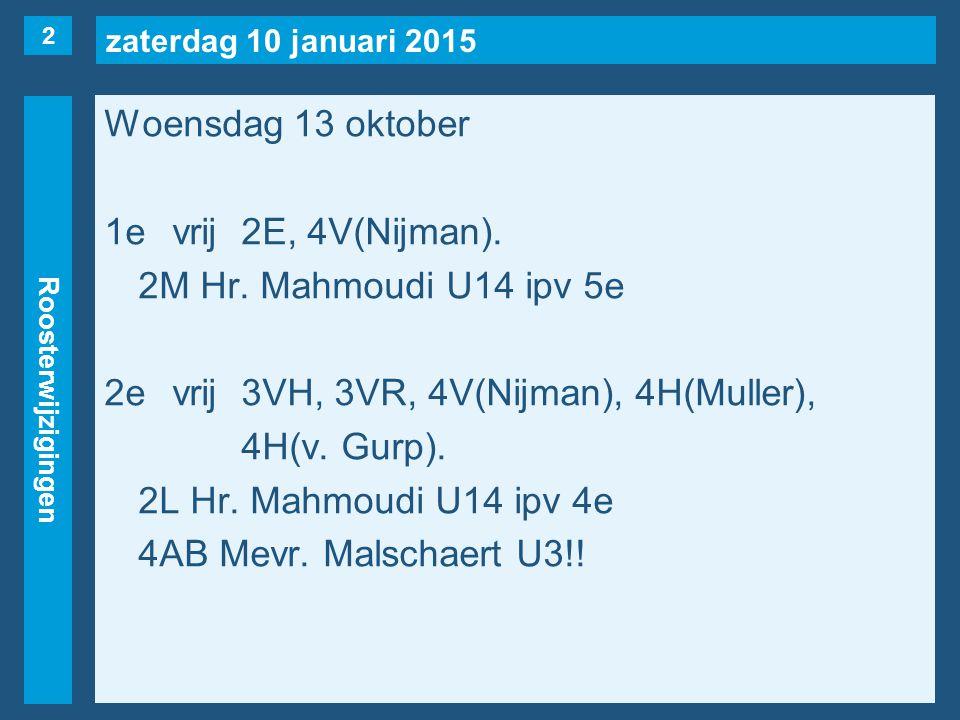 zaterdag 10 januari 2015 Roosterwijzigingen Woensdag 13 oktober 1evrij2E, 4V(Nijman).