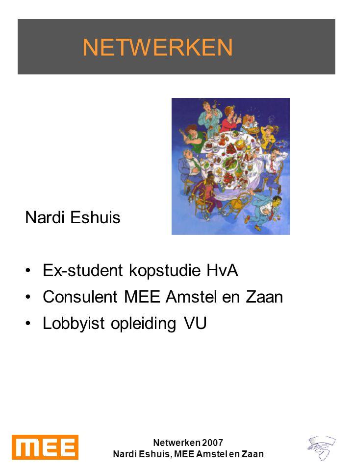 Netwerken 2007 Nardi Eshuis, MEE Amstel en Zaan NETWERKEN Nardi Eshuis Ex-student kopstudie HvA Consulent MEE Amstel en Zaan Lobbyist opleiding VU