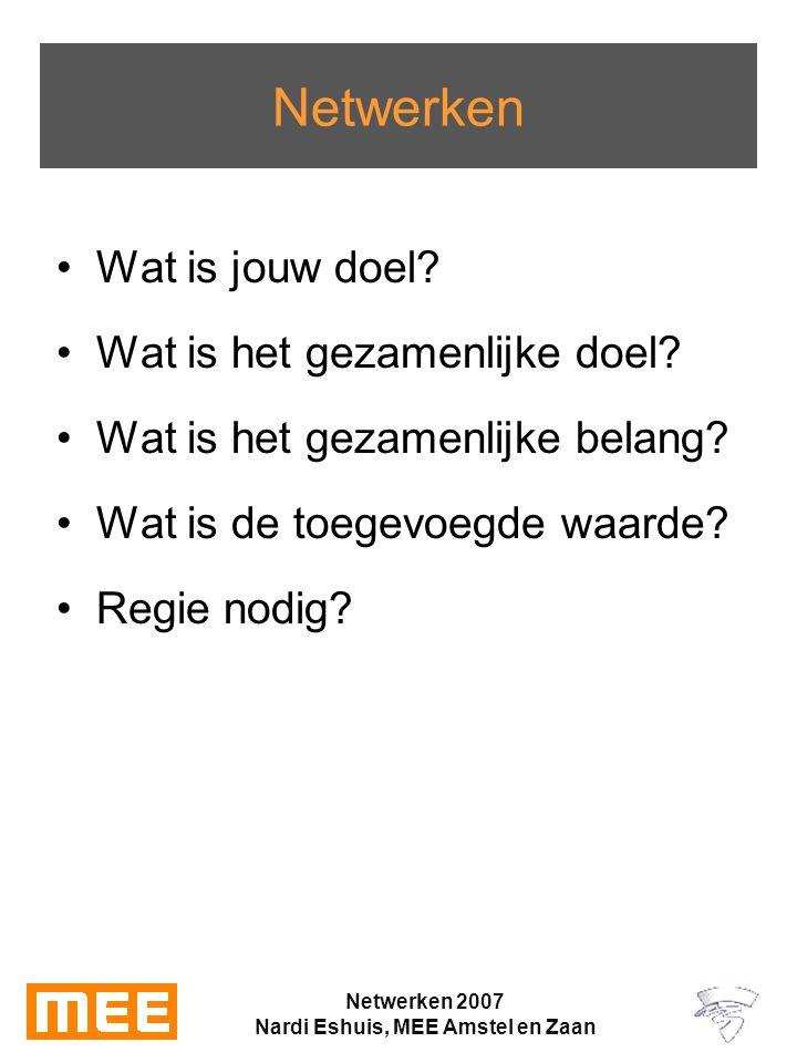 Netwerken 2007 Nardi Eshuis, MEE Amstel en Zaan Netwerken Wat is jouw doel.