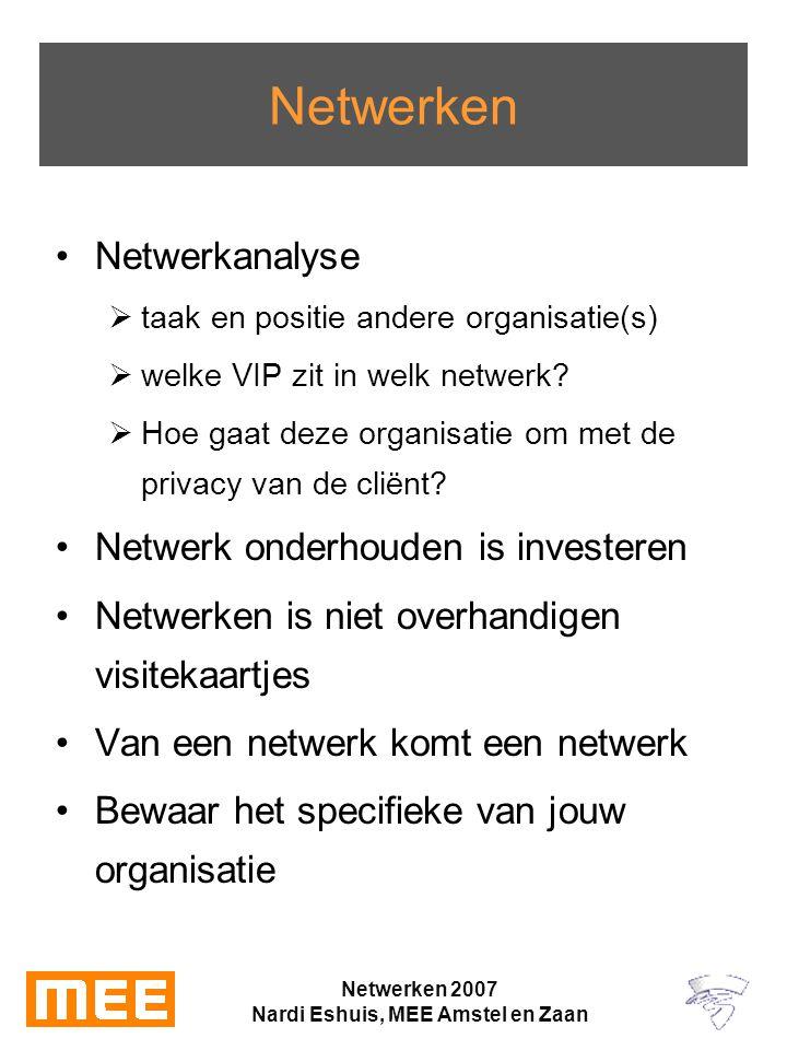 Netwerken 2007 Nardi Eshuis, MEE Amstel en Zaan Netwerken Netwerkanalyse  taak en positie andere organisatie(s)  welke VIP zit in welk netwerk.