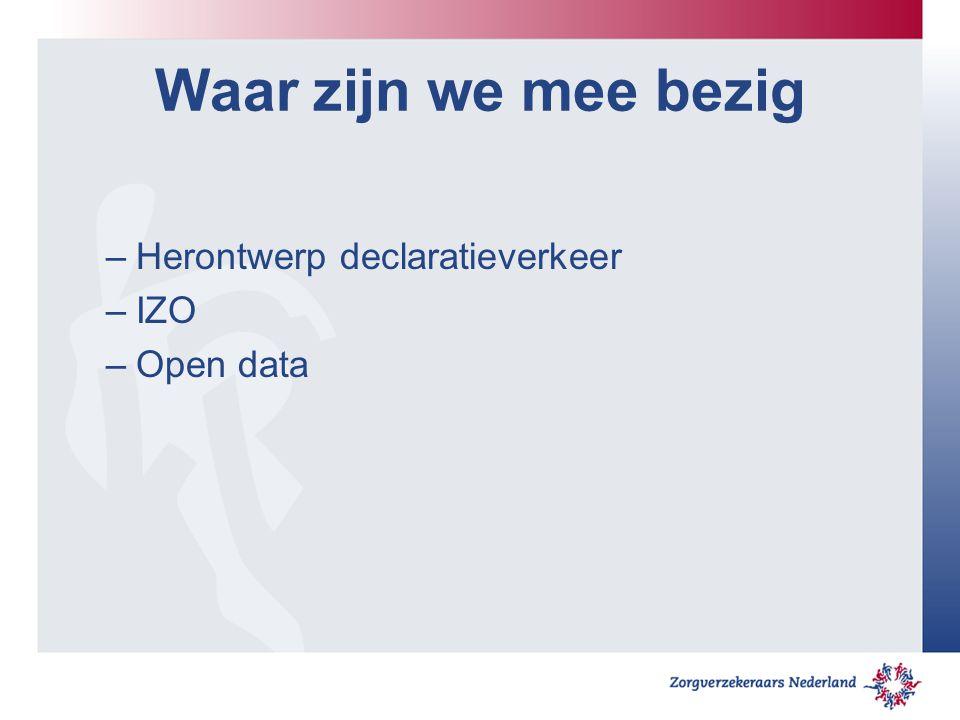 Waar zijn we mee bezig –Herontwerp declaratieverkeer –IZO –Open data