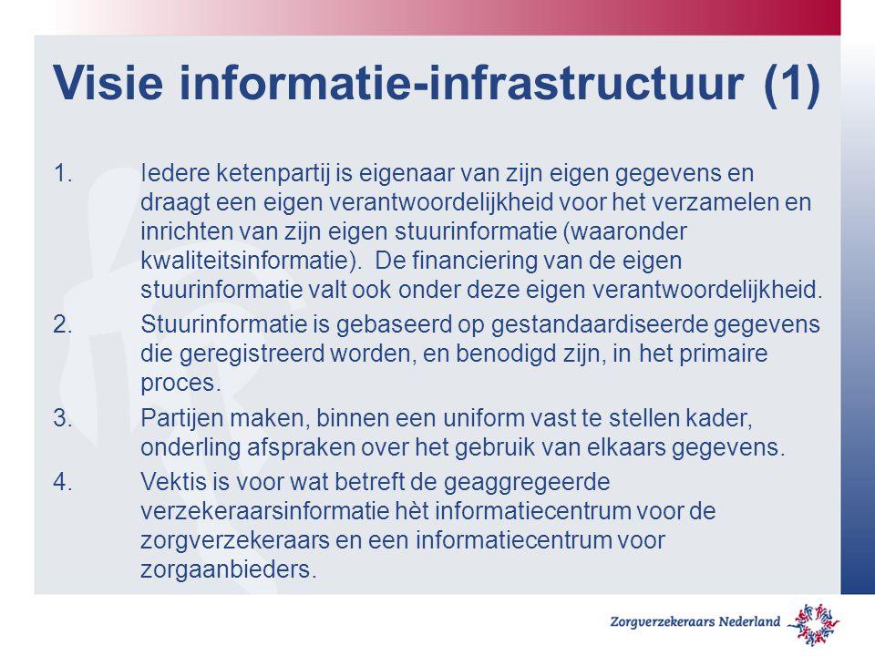 Visie informatie-infrastructuur (1) 1.Iedere ketenpartij is eigenaar van zijn eigen gegevens en draagt een eigen verantwoordelijkheid voor het verzamelen en inrichten van zijn eigen stuurinformatie (waaronder kwaliteitsinformatie).