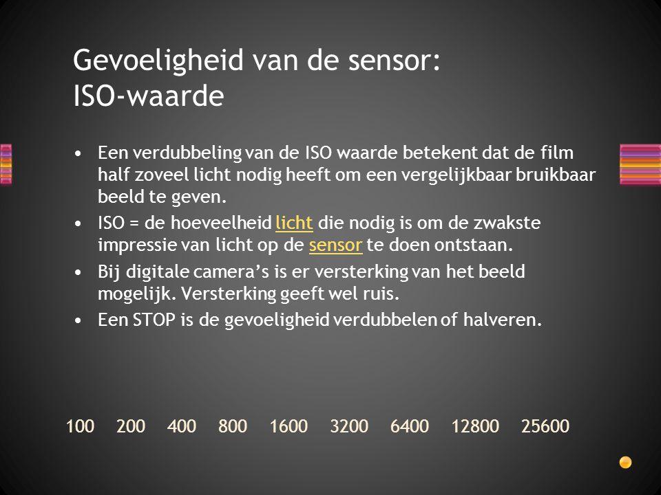 Een verdubbeling van de ISO waarde betekent dat de film half zoveel licht nodig heeft om een vergelijkbaar bruikbaar beeld te geven. ISO = de hoeveelh