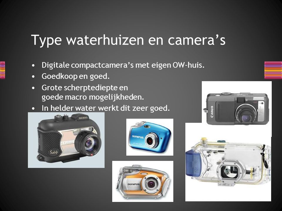 Digitale compactcamera's met eigen OW-huis. Goedkoop en goed. Grote scherptediepte en goede macro mogelijkheden. In helder water werkt dit zeer goed.