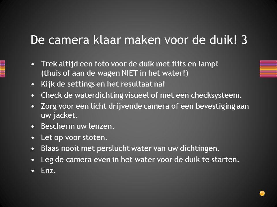 Trek altijd een foto voor de duik met flits en lamp! (thuis of aan de wagen NIET in het water!) Kijk de settings en het resultaat na! Check de waterdi