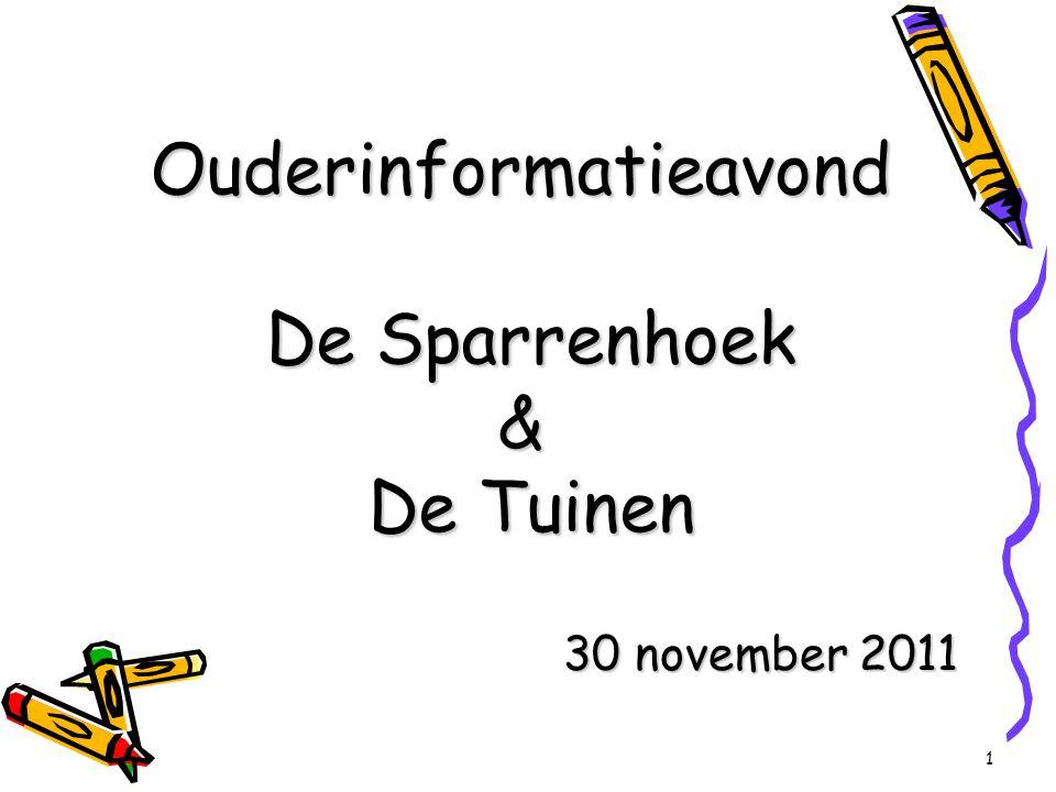 1 Ouderinformatieavond De Sparrenhoek & De Tuinen 30 november 2011