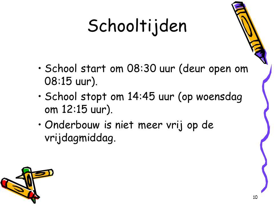 School start om 08:30 uur (deur open om 08:15 uur).