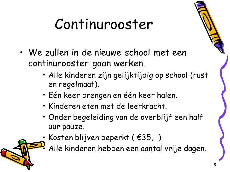 9 Continurooster We zullen in de nieuwe school met een continurooster gaan werken.