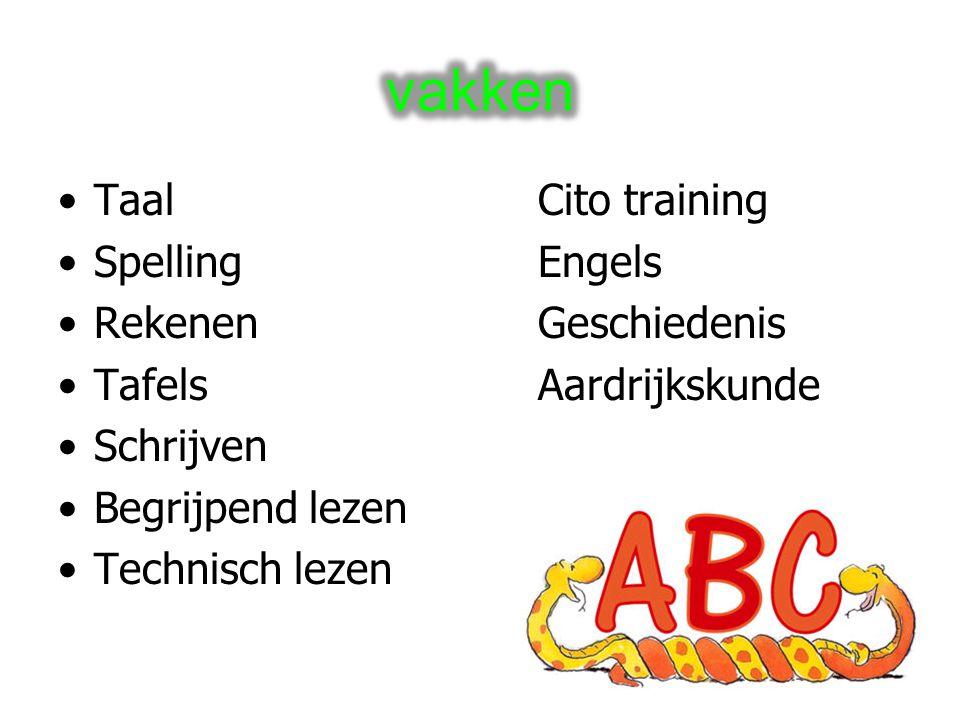 TaalCito training SpellingEngels RekenenGeschiedenis TafelsAardrijkskunde Schrijven Begrijpend lezen Technisch lezen