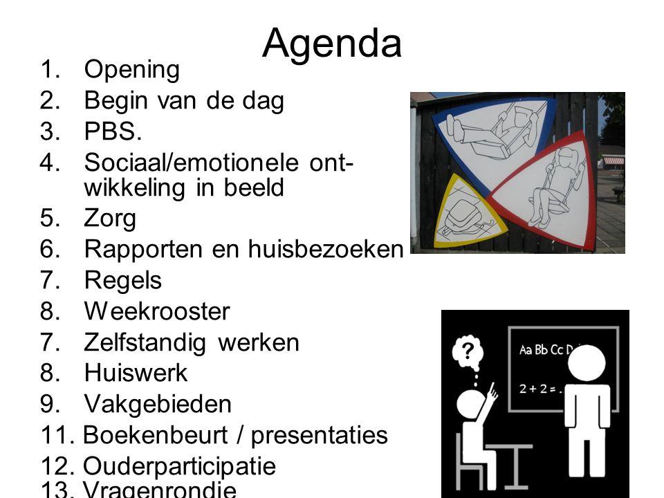 Agenda 1.Opening 2.Begin van de dag 3.PBS.