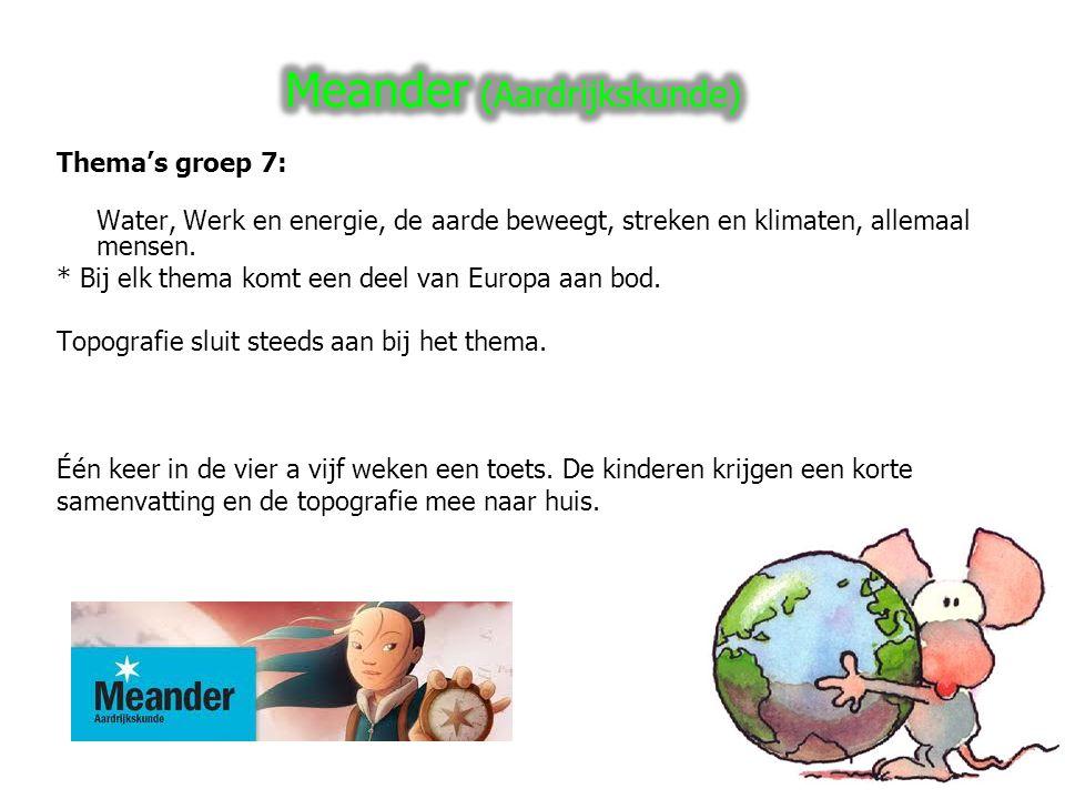 Thema's groep 7: Water, Werk en energie, de aarde beweegt, streken en klimaten, allemaal mensen.