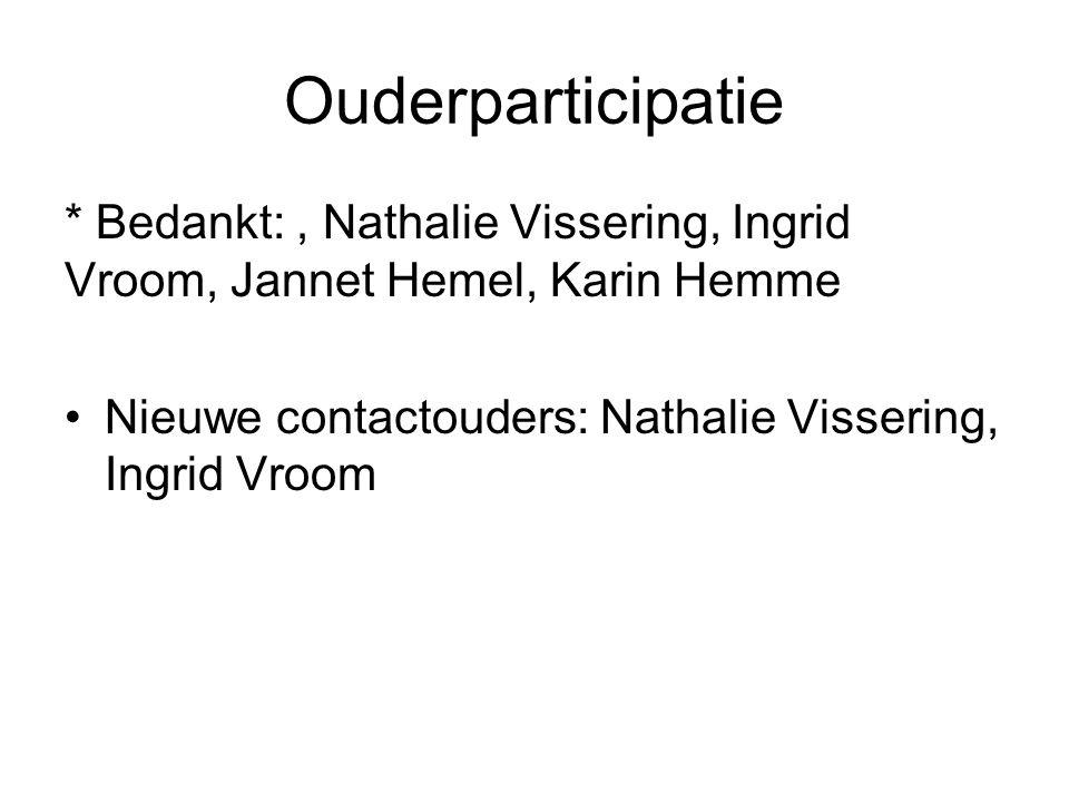 Ouderparticipatie * Bedankt:, Nathalie Vissering, Ingrid Vroom, Jannet Hemel, Karin Hemme Nieuwe contactouders: Nathalie Vissering, Ingrid Vroom