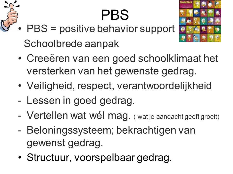 PBS PBS = positive behavior support Schoolbrede aanpak Creeëren van een goed schoolklimaat het versterken van het gewenste gedrag.
