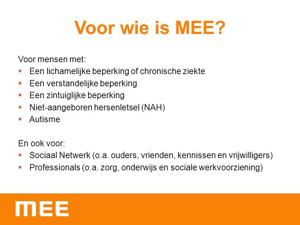 Over MEE MEE West-Brabant biedt onafhankelijke informatie, advies en ondersteuning.