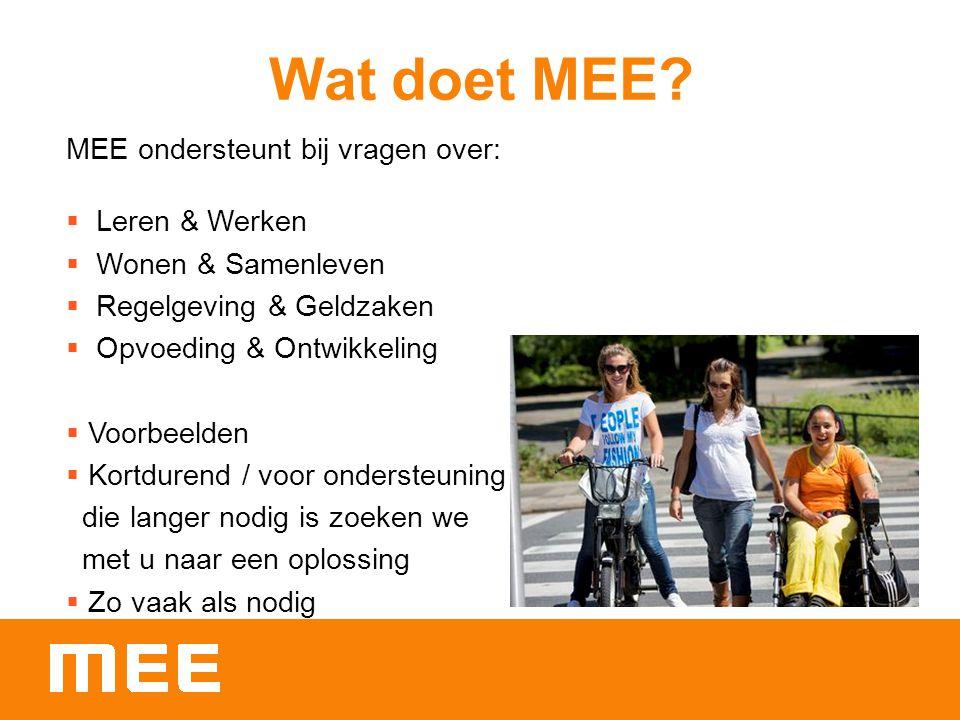 Wat doet MEE? MEE ondersteunt bij vragen over:  Leren & Werken  Wonen & Samenleven  Regelgeving & Geldzaken  Opvoeding & Ontwikkeling  Voorbeelde