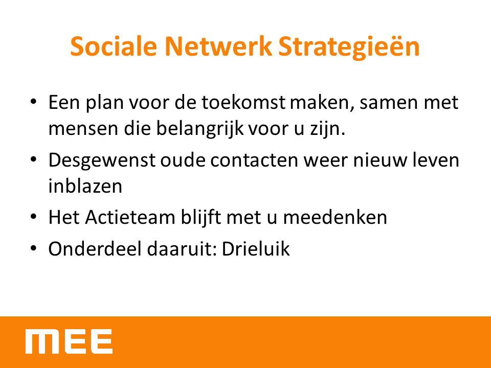 Sociale Netwerk Strategieën Een plan voor de toekomst maken, samen met mensen die belangrijk voor u zijn. Desgewenst oude contacten weer nieuw leven i