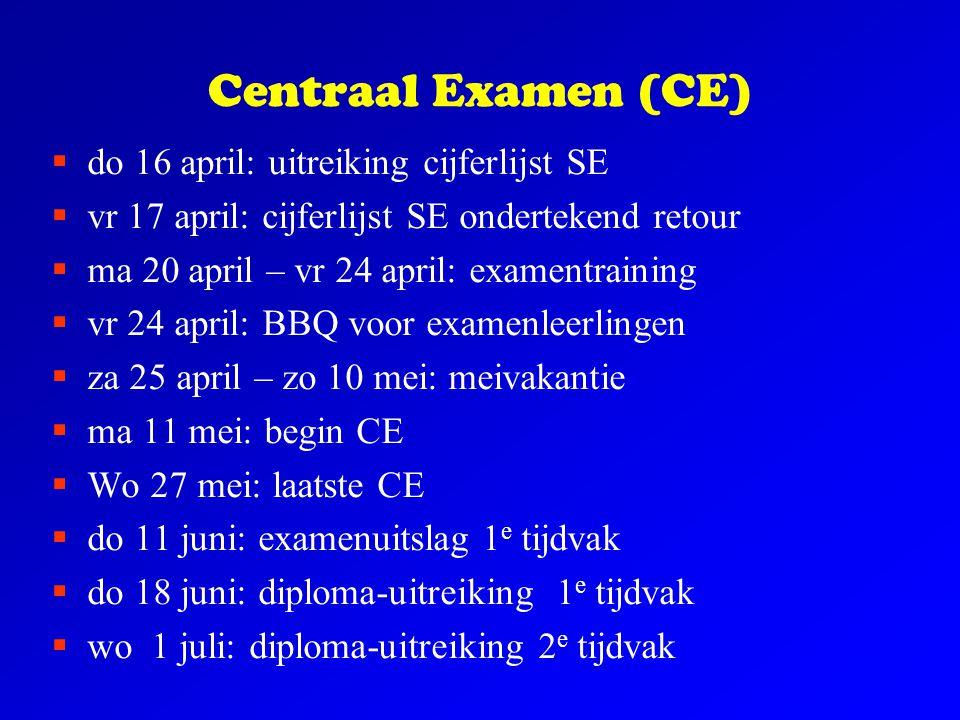 Centraal Examen (CE)  do 16 april: uitreiking cijferlijst SE  vr 17 april: cijferlijst SE ondertekend retour  ma 20 april – vr 24 april: examentrai