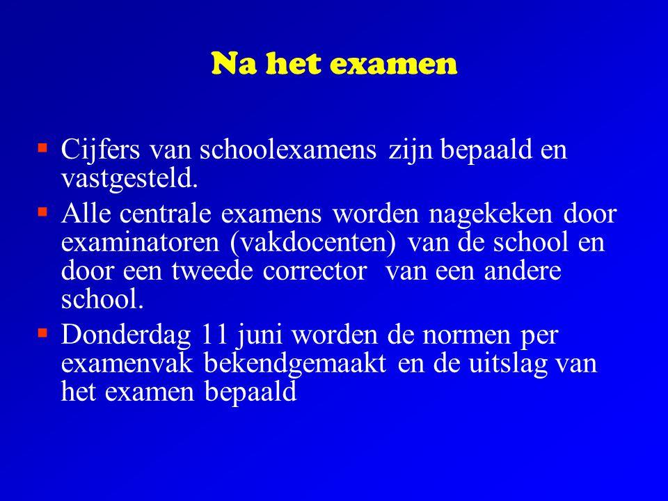 Na het examen  Cijfers van schoolexamens zijn bepaald en vastgesteld.  Alle centrale examens worden nagekeken door examinatoren (vakdocenten) van de
