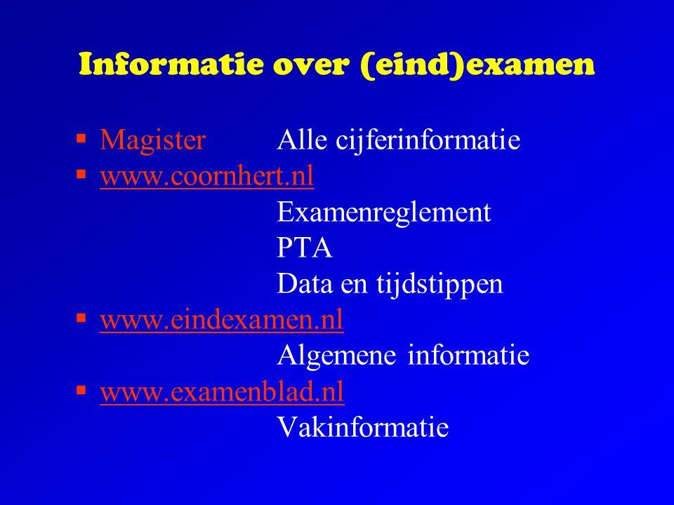 Informatie over (eind)examen  MagisterAlle cijferinformatie  www.coornhert.nl Examenreglement PTA Data en tijdstippen  www.eindexamen.nl Algemene i