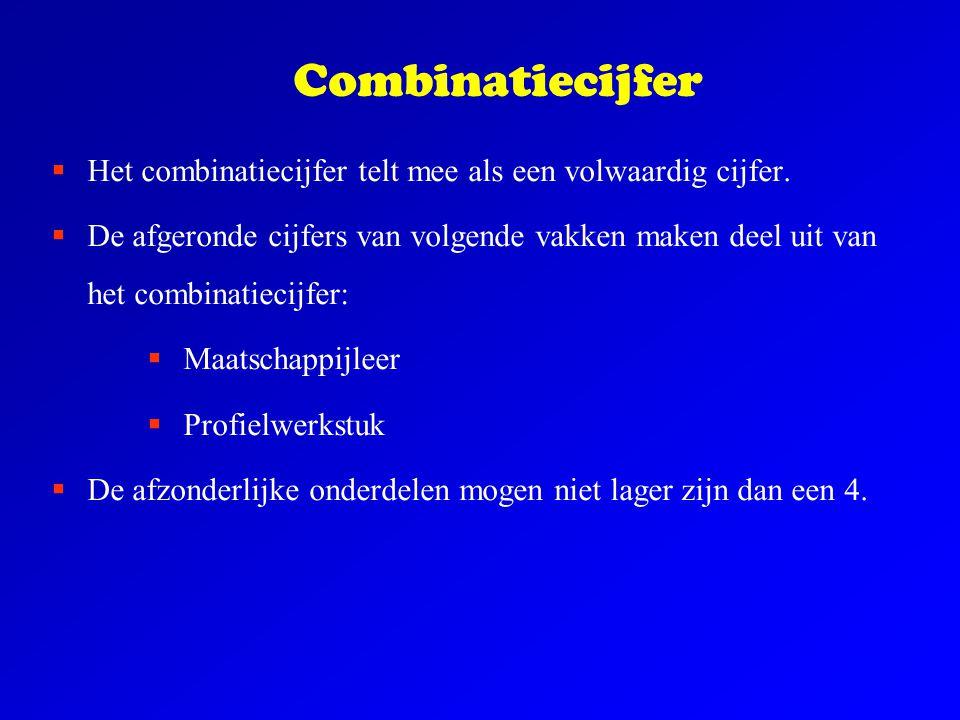 Combinatiecijfer  Het combinatiecijfer telt mee als een volwaardig cijfer.  De afgeronde cijfers van volgende vakken maken deel uit van het combinat
