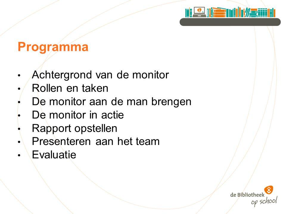 Programma Achtergrond van de monitor Rollen en taken De monitor aan de man brengen De monitor in actie Rapport opstellen Presenteren aan het team Evaluatie