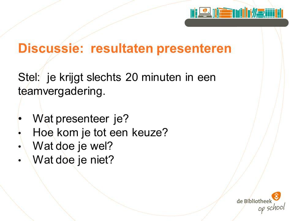 Discussie: resultaten presenteren Stel: je krijgt slechts 20 minuten in een teamvergadering.